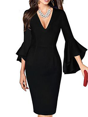 cheap Romantic Lace Dresses-Women's Plus Size Sheath Dress - Half Sleeve Print Spring Summer Deep V Sexy Work Flare Cuff Sleeve Black / Red Black / White Red / White Rainbow White Black Purple Red Blushing Pink Green S M L XL