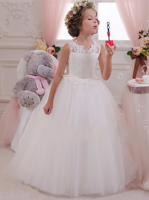 cheap Flower Girl Dresses-Princess Maxi Wedding / Birthday / First Communion Flower Girl Dresses - Cotton / Lace / Tulle Sleeveless Scalloped Neckline with Lace / Appliques / Crystals / Rhinestones