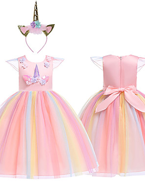 cheap Girls' Dresses-Princess Unicorn Cosplay Costume Masquerade Flower Girl Dress Kid's Girls' A-Line Slip Cosplay Halloween Christmas Halloween Carnival Festival / Holiday Tulle Cotton Purple / Yellow / Pink Carnival