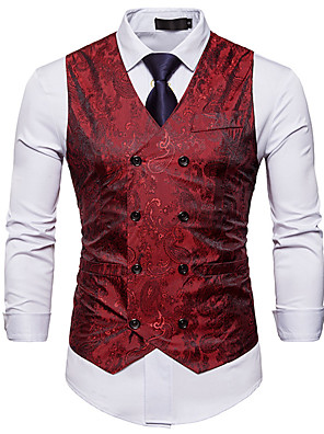 cheap Shirts-Polyster / Poly&Cotton Blend Wedding / Daily Wear Vests / Work Embroidery / Solid Color / Geometry