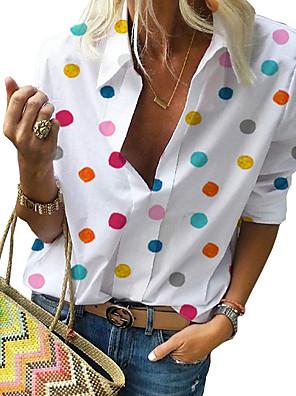 cheap Women's Blouses-Women's Plus Size Polka Dot Print Shirt Street chic Casual Street Shirt Collar White / Blue / Red / Gray