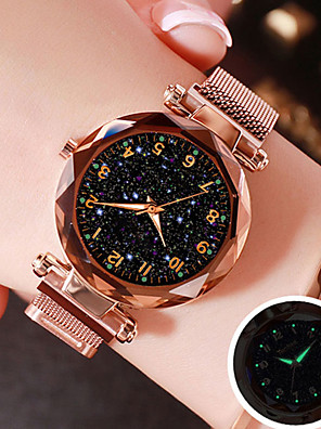 cheap Quartz Watches-Women's Quartz Watches Quartz Mesh Stylish Magnetic Water Resistant / Waterproof Stainless Steel Black / Blue / Purple Analog - Rose Gold Black Blue One Year Battery Life / Starry / Imitation Diamond