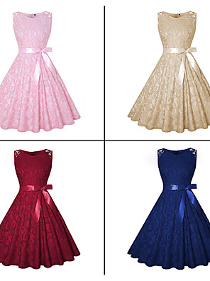 cheap Special Occasion Dresses-A-Line Cut Out Minimalist Cocktail Party Dress Jewel Neck Sleeveless Knee Length Lace with Sash / Ribbon 2020