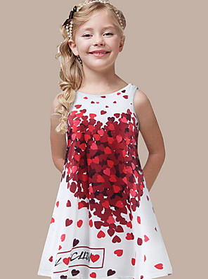cheap Girls' Dresses-Kids Girls' Heart Dress White