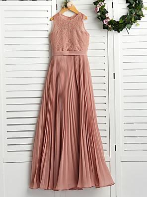 cheap Junior Bridesmaid Dresses-A-Line Crew Neck Maxi Chiffon / Lace Junior Bridesmaid Dress with Lace / Pleats