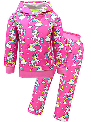 cheap Girls' Dresses-Kids Toddler Girls' Active Street chic Unicorn Cartoon Lace Long Sleeve Regular Regular Cotton Clothing Set Fuchsia