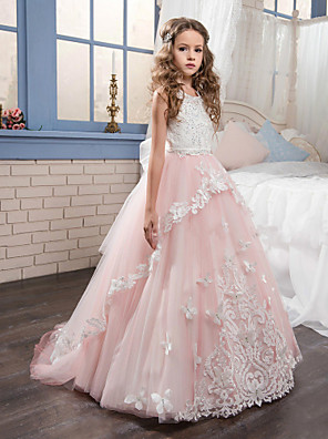 cheap Christening Gowns-Princess Sweep / Brush Train Party / Birthday / Pageant Flower Girl Dresses - Cotton / nylon with a hint of stretch / Lace / Tulle Sleeveless Jewel Neck with Lace / Bow(s) / Appliques