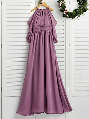 cheap Junior Bridesmaid Dresses-A-Line Crew Neck Floor Length Chiffon Junior Bridesmaid Dress with Ruching / Wedding Party