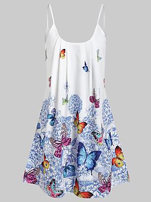 cheap Mini Dresses-Women's Skater Dress - Sleeveless Geometric Print Strap Boho Street chic Loose Blue Red Yellow L XL XXL XXXL XXXXL XXXXXL