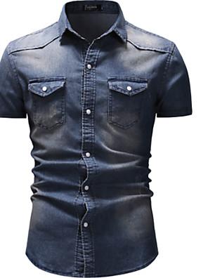 cheap Shirts-Men's Shirt Solid Colored Denim Short Sleeve Tops Streetwear Blue Light gray Dark Gray