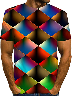 cheap Boys' Tops-Men's Daily T-shirt Geometric Graphic Print Short Sleeve Tops Streetwear Exaggerated Round Neck Rainbow / Summer