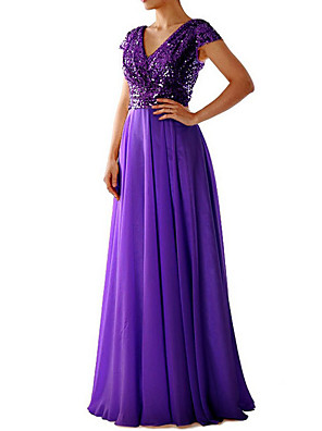 cheap Prom Dresses-Women's Maxi long Dress Swing Dress - Short Sleeve Sequins Deep V Cocktail Party Prom Black Purple Beige S M L XL XXL XXXL