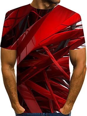 cheap Men's Tees & Tank Tops-Men's Daily T-shirt Abstract Graphic Print Short Sleeve Tops Streetwear Exaggerated Round Neck Blue Red Blushing Pink / Summer