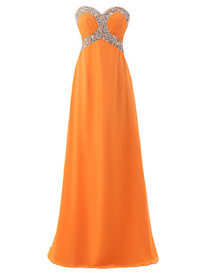 cheap Evening Dresses-A-Line Empire Sparkle Wedding Guest Formal Evening Dress Sweetheart Neckline Sleeveless Floor Length Chiffon with Crystals 2020