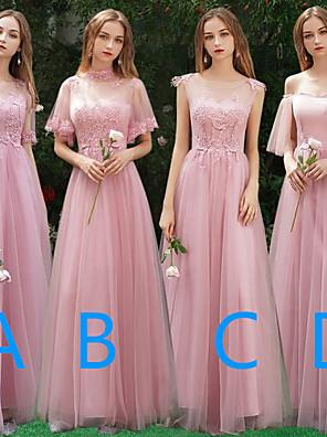 cheap Bridesmaid Dresses-A-Line Off Shoulder / Bateau Neck Floor Length Tulle Bridesmaid Dress with Appliques