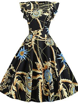 cheap Women's Dresses-Women's Swing Dress - Short Sleeve Color Block Ruffle Patchwork Print Vintage Belt Not Included Slim Gold S M L XL XXL