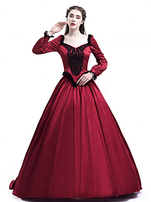 cheap Prom Dresses-Princess Maria Antonietta Floral Style Rococo Victorian Renaissance Dress Party Costume Masquerade Women's Lace Costume Red Vintage Cosplay Christmas Halloween Party / Evening 3/4 Length Sleeve Floor