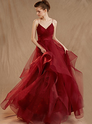 cheap Prom Dresses-Ball Gown Elegant Red Engagement Formal Evening Dress Spaghetti Strap Sleeveless Sweep / Brush Train Tulle with Ruched Tier 2020