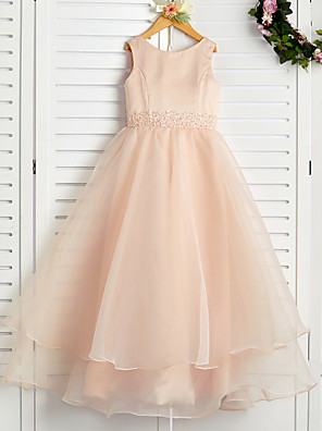cheap Flower Girl Dresses-A-Line Jewel Neck Ankle Length Organza / Satin Junior Bridesmaid Dress with Beading / Tier