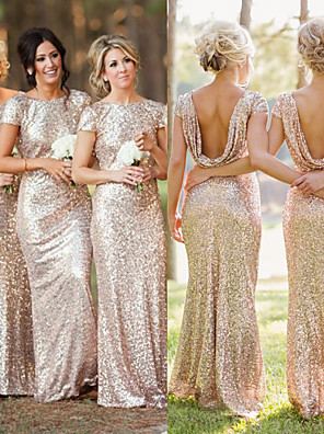 cheap Bridesmaid Dresses-Mermaid / Trumpet Jewel Neck Floor Length Sequined Bridesmaid Dress with Ruching