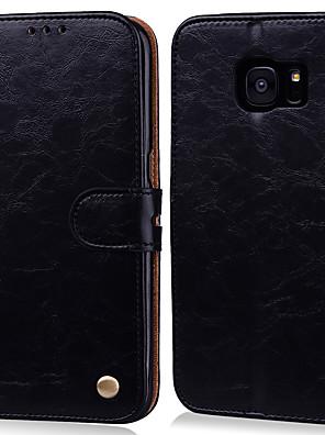 voordelige Samsung-accessoires-hoesje Voor Samsung Galaxy S7 edge / S7 Kaarthouder / Flip Volledig hoesje Effen Hard PU-nahka