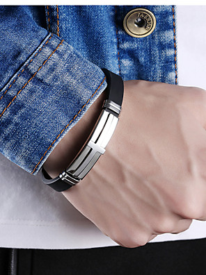 cheap Sport Watches-Men's Leather Bracelet Two tone Cross Stylish Punk Trendy Titanium Steel Bracelet Jewelry Gold / Black / Silver For Party Gift Daily Carnival Club