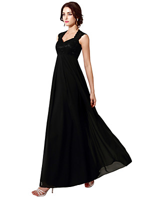 cheap Mother of the Bride Dresses-A-Line Elegant Empire Wedding Guest Formal Evening Dress Queen Anne Sleeveless Floor Length Chiffon Lace with Pleats 2020