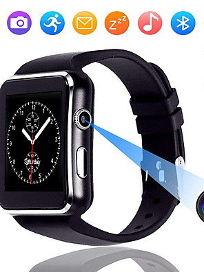 tanie Inteligentne zegarki-Ekran dotykowy x6 inteligentny zegarek z kamerą inteligentny zegarek mężczyźni wsparcie sim tf bluetooth smartwatch winda wodoodporna dla iphone android