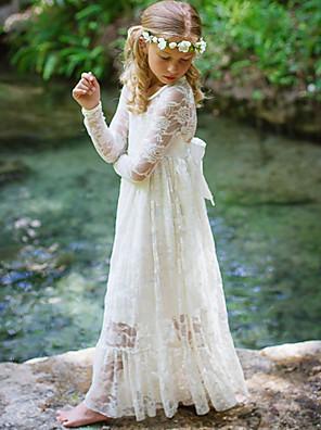 cheap Junior Bridesmaid Dresses-Kids Girls' Sweet Boho Party White Jacquard Lace Flower Long Sleeve Maxi Dress Black