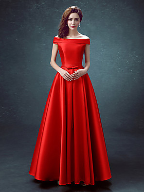 cheap Special Occasion Dresses-A-Line Elegant Minimalist Prom Dress Off Shoulder Sleeveless Floor Length Satin with 2020
