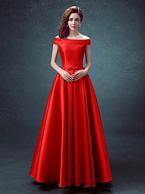 cheap Bridesmaid Dresses-A-Line Elegant Minimalist Prom Dress Off Shoulder Sleeveless Floor Length Satin with 2020