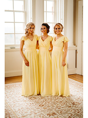 cheap Party Dresses-A-Line V Neck Floor Length Chiffon Bridesmaid Dress with Cascading Ruffles / Ruching