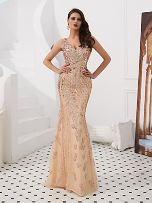 cheap Evening Dresses-Mermaid / Trumpet Sexy Sparkle & Shine Formal Evening Black Tie Gala Dress V Neck Sleeveless Floor Length Tulle with Crystals Beading Sequin 2020