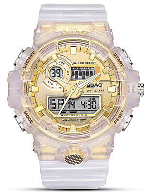 cheap Quartz Watches-Women's Sport Watch Quartz Sporty Stylish White 30 m Water Resistant / Waterproof Calendar / date / day Noctilucent Analog - Digital Fashion Cool - Black Pink Golden One Year Battery Life
