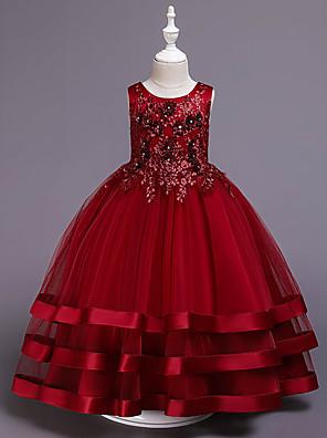 cheap Flower Girl Dresses-Princess Medium Length Wedding / Party / Pageant Flower Girl Dresses - Cotton / Satin / Tulle Sleeveless Jewel Neck with Belt / Embroidery / Appliques