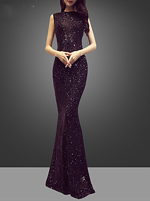 cheap Evening Dresses-Mermaid / Trumpet Sparkle Purple Engagement Formal Evening Dress Jewel Neck Sleeveless Floor Length Sequined with Sequin Pattern / Print 2020