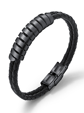 cheap Steel Band Watches-Men's Leather Bracelet Loom Bracelet Rope Skull Weave Statement Punk Trendy Rock Gothic Titanium Steel Bracelet Jewelry Gold / Black / Silver For Party Gift Daily Carnival Club