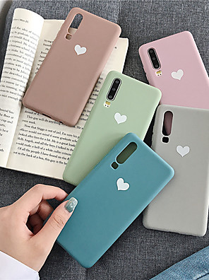 cheap Huawei Case-Case For Huawei Huawei Nova 4 / Huawei P20 / Huawei P20 Pro Pattern Back Cover Heart / Solid Colored TPU / P10