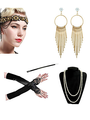 cheap Historical & Vintage Costumes-Charleston Vintage 1920s The Great Gatsby Costume Accessory Sets Gloves Flapper Headband Women's Feather Costume Necklace Earrings Black / Red black / Black+Golden Vintage Cosplay Festival