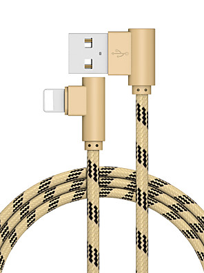 cheap Cell Phone Cables-Lightning Cable 2.0m(6.5Ft) Gold Plated / Quick Charge Aluminum USB Cable Adapter For iPhone