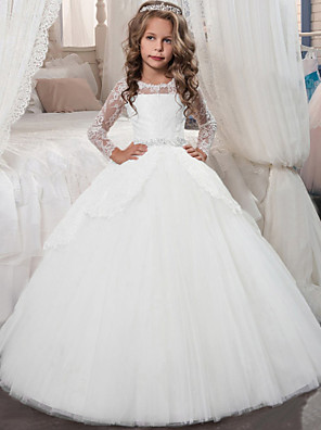 cheap Evening Dresses-Princess Floor Length Christmas / Birthday / First Communion Flower Girl Dresses - Chiffon / Lace / Tulle Long Sleeve Jewel Neck with Lace / Crystals / Rhinestones