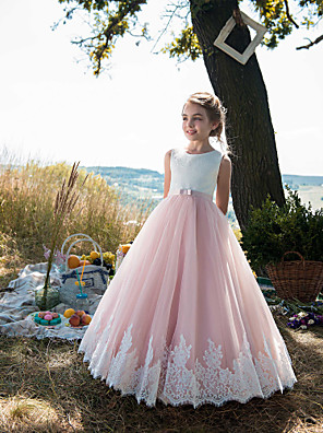cheap Flower Girl Dresses-Princess Floor Length Party / Birthday / Pageant Flower Girl Dresses - Cotton / Tulle Sleeveless Jewel Neck with Lace / Belt / Appliques