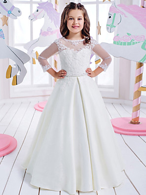 cheap Wedding Wraps-Princess Floor Length Wedding / Birthday / First Communion Flower Girl Dresses - Cotton / nylon with a hint of stretch / Lace / Mikado 3/4 Length Sleeve Jewel Neck with Lace / Appliques