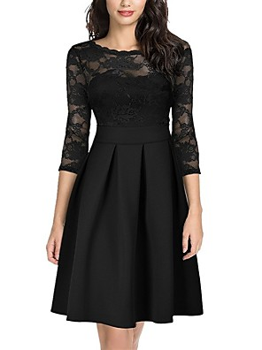 cheap Romantic Lace Dresses-Women's Skater Dress - 3/4 Length Sleeve Solid Colored Lace Patchwork Spring & Summer Elegant Cocktail Party Going out Belt Not Included 2020 Black Green S M L XL XXL