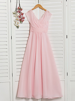 cheap Junior Bridesmaid Dresses-A-Line V Neck Floor Length Chiffon Junior Bridesmaid Dress with Ruching / Ruffles / Wedding Party