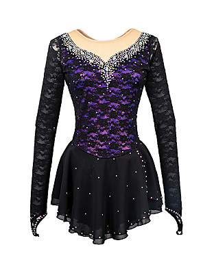cheap Ice Skating Dresses , Pants & Jackets-21Grams Figure Skating Dress Women's Girls' Ice Skating Dress Black Yellow & Yellow Sky Blue Open Back Spandex Stretch Yarn High Elasticity Training Competition Skating Wear Handmade Solid Colored
