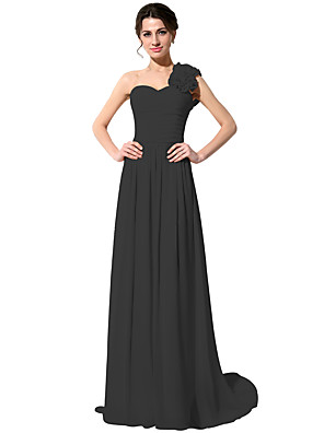 cheap Bridesmaid Dresses-A-Line One Shoulder Sweep / Brush Train Chiffon Bridesmaid Dress with Ruching