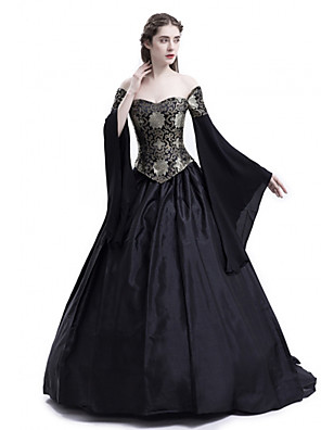 cheap Wedding Slips-Princess Maria Antonietta Floral Style Rococo Victorian Renaissance Dress Party Costume Masquerade Women's Lace Costume Black Vintage Cosplay Christmas Halloween Party / Evening 3/4 Length Sleeve