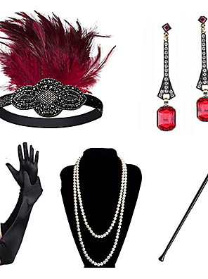 cheap Historical & Vintage Costumes-Charleston Vintage 1920s The Great Gatsby Costume Accessory Sets Gloves Flapper Headband Women's Feather Costume Necklace Earrings Red+Black / Red+Golden / Blue+Red Vintage Cosplay Festival