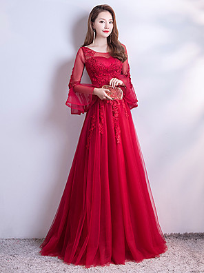 cheap Evening Dresses-A-Line Luxurious Red Engagement Formal Evening Dress Illusion Neck Long Sleeve Sweep / Brush Train Lace Tulle with Beading Appliques 2020
